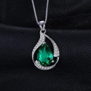 Image 2 - Jpalace 3ct Simulated Nano Emerald Pendant Necklace 925 Sterling Silver Gemstones Choker Statement Necklace Women No Chain