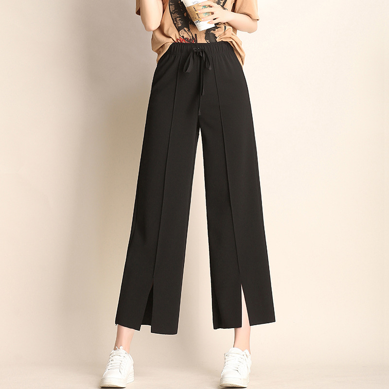 Nonis Split Lady Wide Leg Loose Pants Women Spring Summer High Waist Trousers Chic Streetwear Casual Pants Capris Female 2019