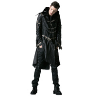 Gothic Cross Leather Hing Size Coats Steampunk Men Faux Leather Handsome Long Jackets High Collar Thick