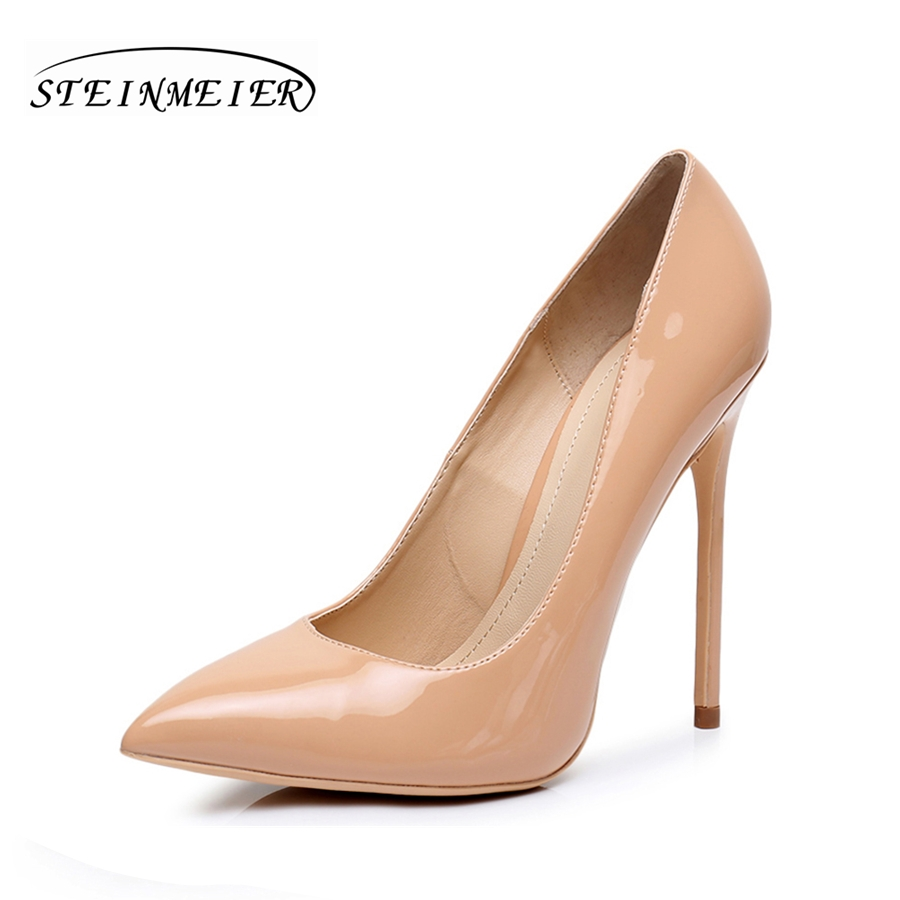 Women high heel shoes quality thin heels 12cm patent leather Black nude 33-41 point High heel red sexy pumps party shoes