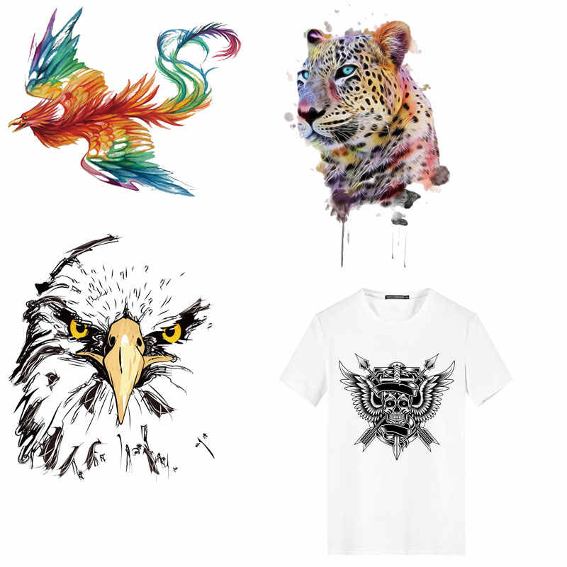 Animal Stickers Iron on Patches Butterfly Skull Heat Transfer of Patches Stripes Applique on Clothes Decor DIY T-shirt Jacket E