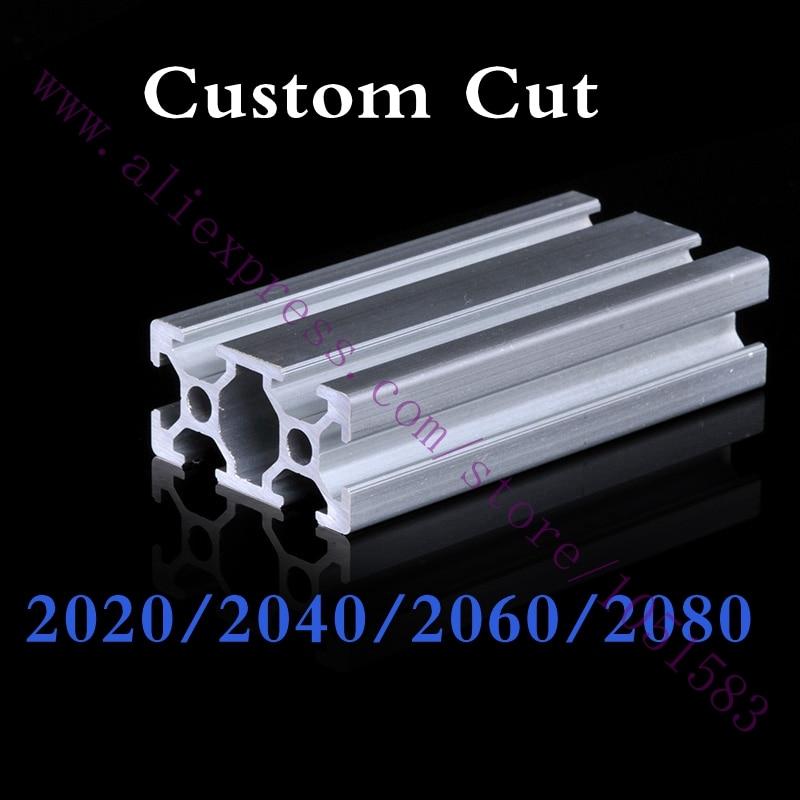 2020 T-Slot Black Aluminum Profiles Extrusion Frame 300-500mm F 3D Printor CNC