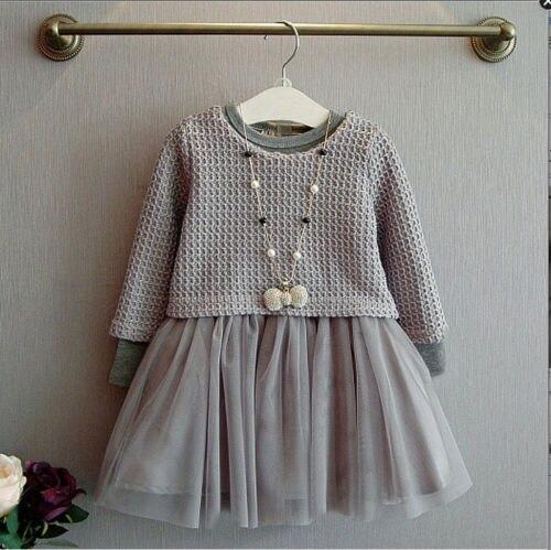 cba73bfe2024 À Manches longues Enfants Filles Chandail Vêtements D hiver Princesse Pour  Petite Fille Robe Maille