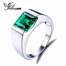 Jewelrypalace Males's Sq. 2.2ct Created Russian Nano Inexperienced Emerald Engagement Ring 925 Sterling Sliver for Males Style Jewellery
