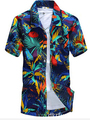 Марка Летние Гавайские 2015 мужская Гавайи Пляж Рубашка, мужчины С Коротким Рукавом Цветочный Свободные Рубашки Вскользь Плюс Размер L-4xl # A7