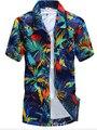 Marca Verano Hawaiano 2015 hombres Camisa de la Playa de Hawaii, los hombres de Manga Corta Floral Loose Camisas Casuales Más El Tamaño L-4XL # A7