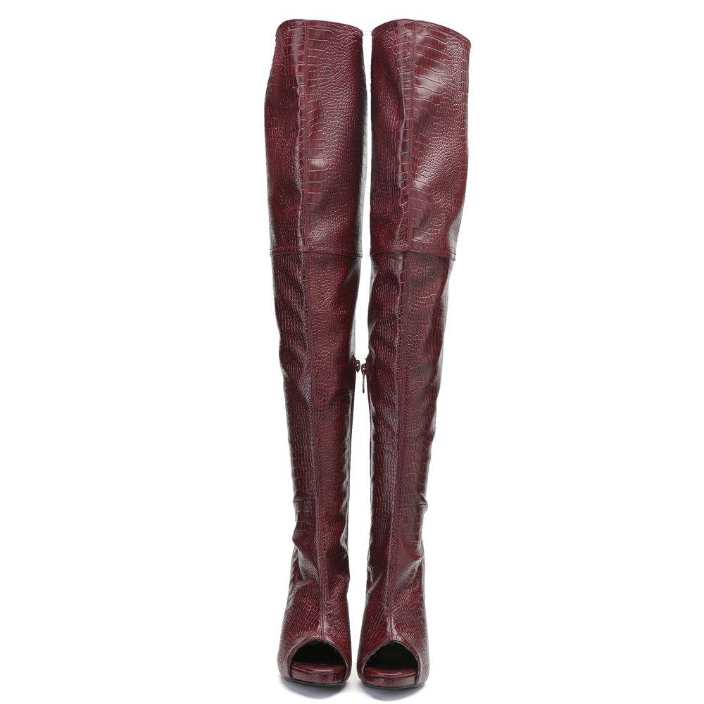 Оригинальные Модные женские ботфорты выше колена сапоги до бедра на тонком каблуке с открытым носком винно красная обувь женская обувь бол... - 3