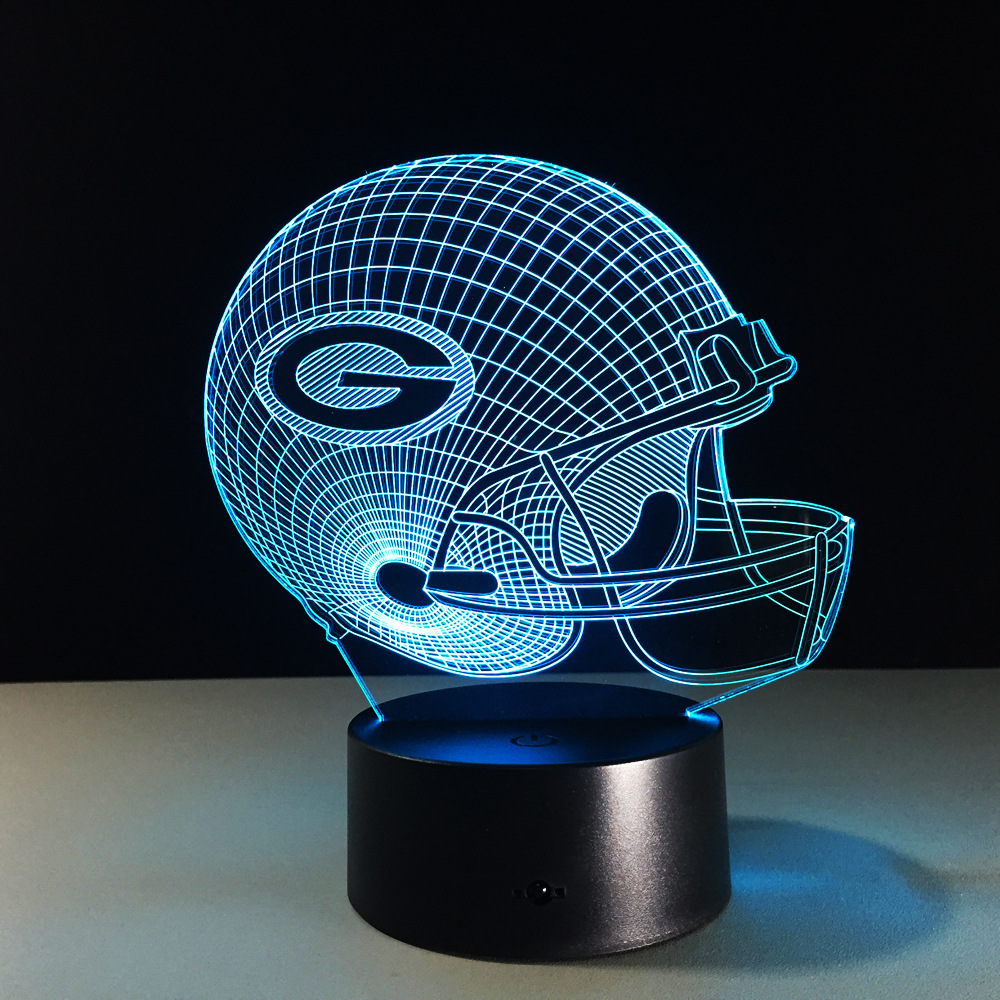 04904600 US $17.99  3D Lamp Football Green Bay Packers Helmet LED Light 7 Color  Change Table Lamp Colorful 3D Night Light Kids Christmas Gifts -in LED  Night ...