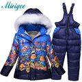 Roupa dos miúdos define Crianças ternos de esqui das meninas roupa interior de esqui de inverno ao ar livre quente grossa jackt + calças 2 pc