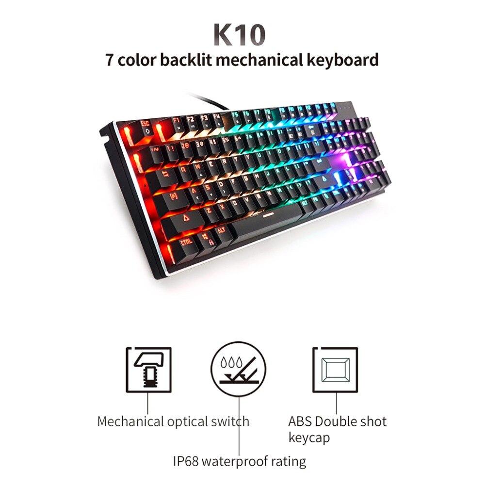 K10 104 Key Mechanical Keyboard USB Wired LED Backlit Axis Gaming Mechanical Keyboard For DesktopK10 104 Key Mechanical Keyboard USB Wired LED Backlit Axis Gaming Mechanical Keyboard For Desktop