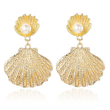 CXW Free shipping Pearl alloy shell earrings for women exaggerated new style fashion pendant  SH08