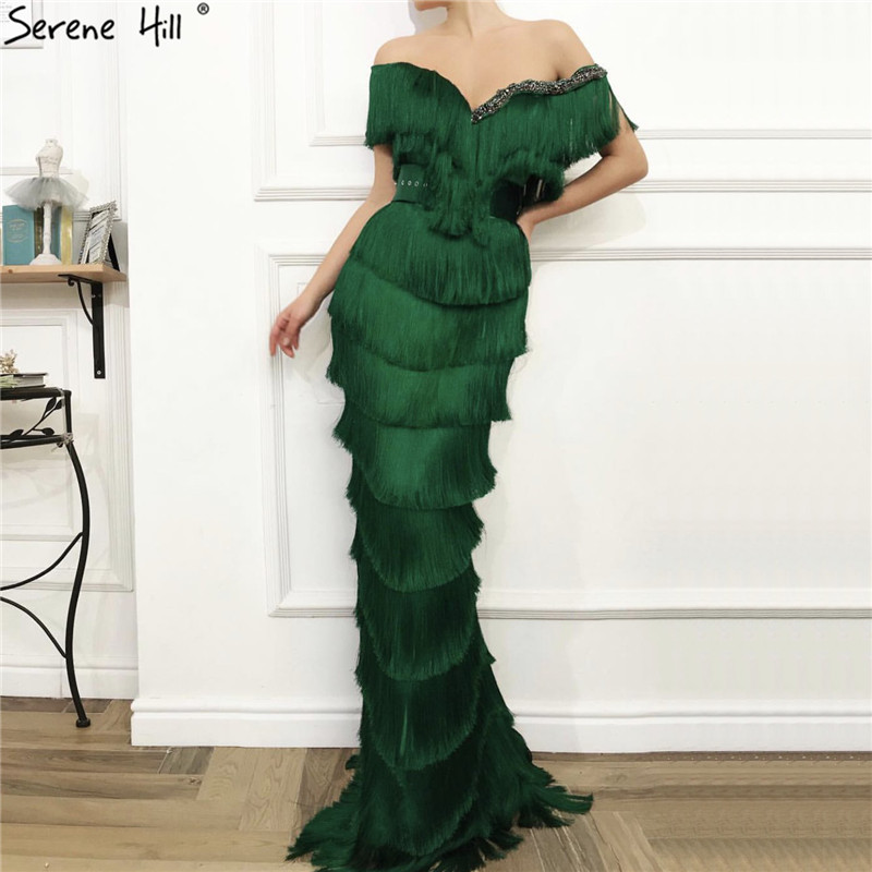 Green Off Shoulder Sexy Mermaid Evening Dresses 2019 Short Sleeves Tassel Tiered Evening Gowns Serene Hill LA70024