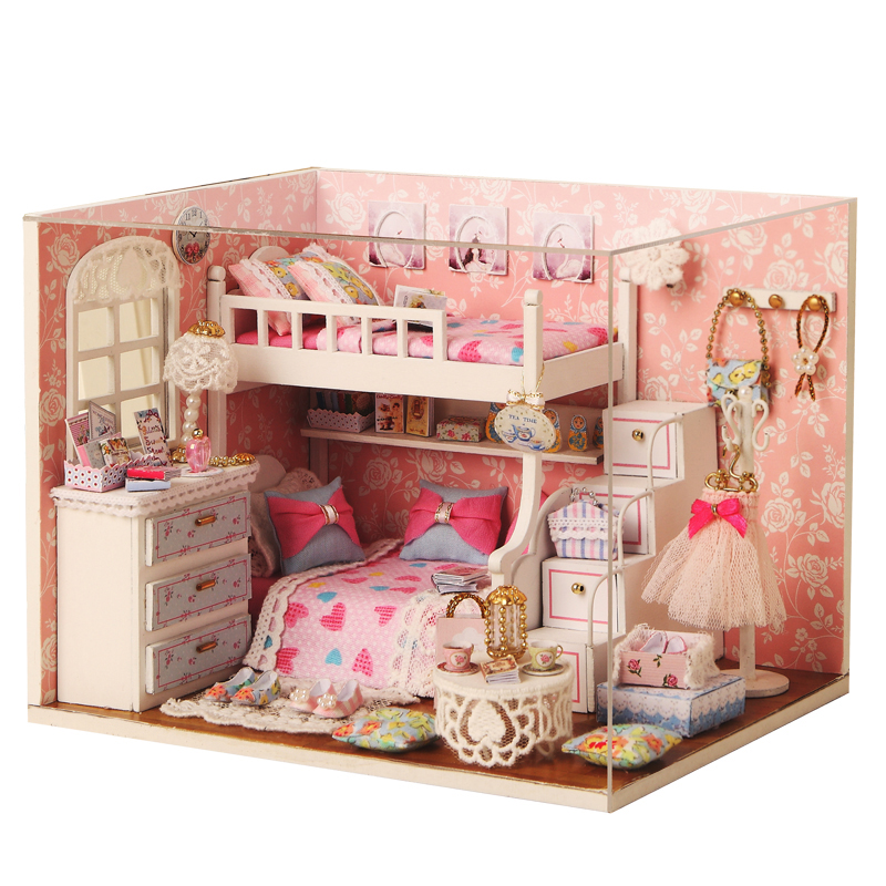 Elegant DIY Model Miniature Dollhouse With Furnitures LED 3D Wooden House Toys Handmade Crafts Gifts For Children H006 #D