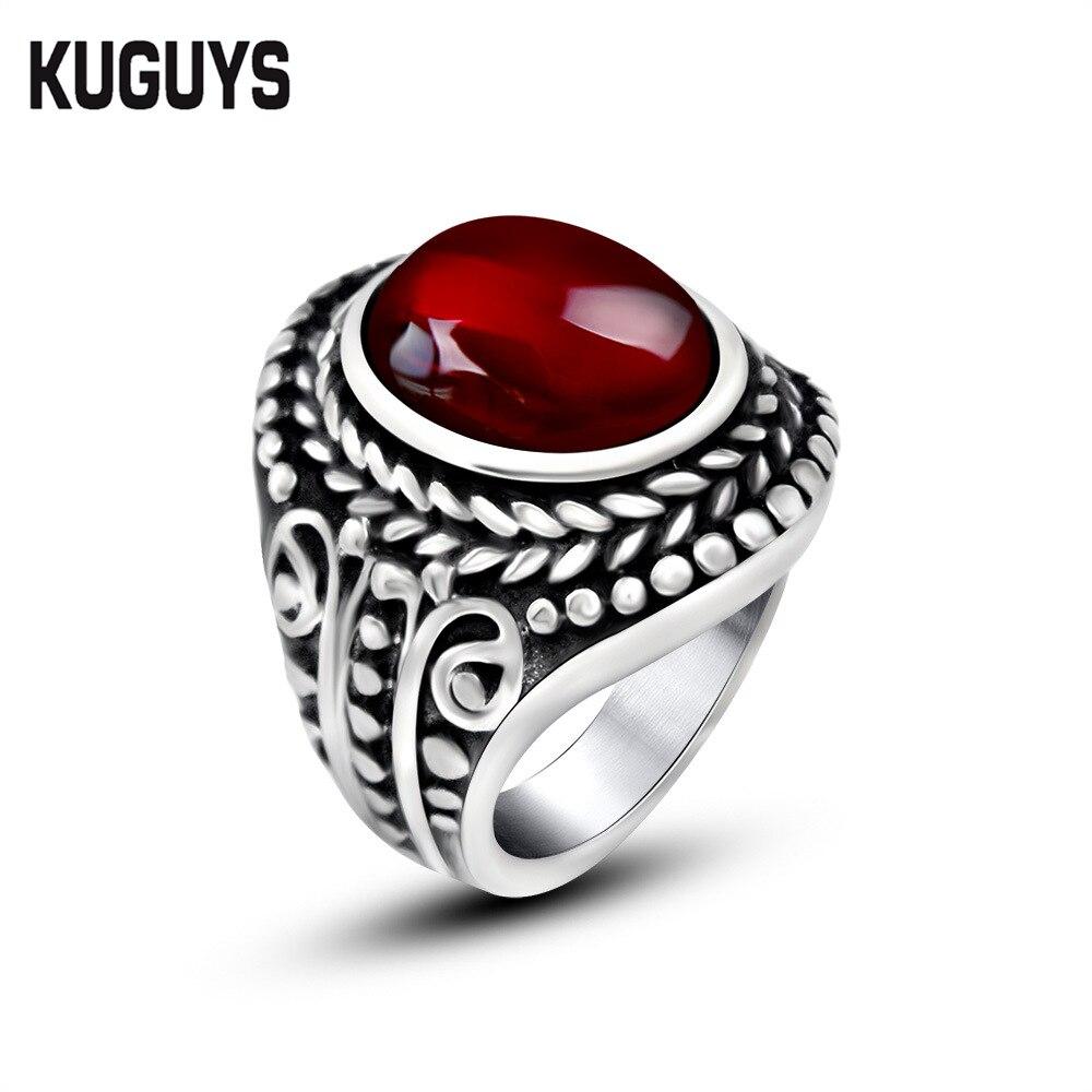 stone wedding rings kuguys black red natural stone wedding rings for lovers women and men - Stone Wedding Rings