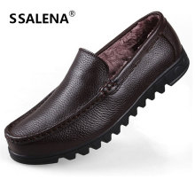 Men Winter Moccasins Loafers With Plush Fur Mens Comfortable Warm Leather Casual Shoes Lightweight Slip On Shoes AA11577