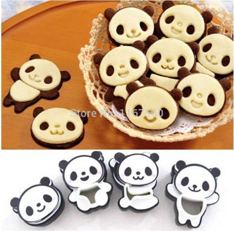 free shipping 4 different Cartoon Cake Tools cute Panda DIY Biscuit Cookie Cutter mold Tool