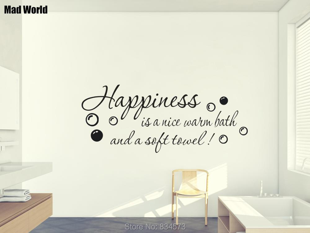 Mad World-Happiness is a nice warm bath Wall Art Stickers Wall Decal Home DIY Decoration Removable Room Decor Wall Stickers