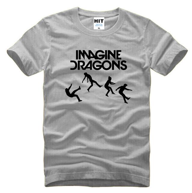 Imagine Dragons Música Rock Camiseta de Los Hombres T Shirt Para Hombres 2016 nueva Manga Corta O Cuello de Algodón Casual Top Tee Camisetas Hombre