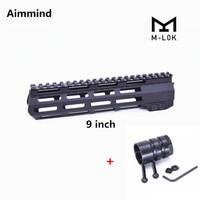 9 inch AR15 Free Float M LOK Handguard Picatinny Rail Slim Style with Steel Barrel Nut for Scope Mount