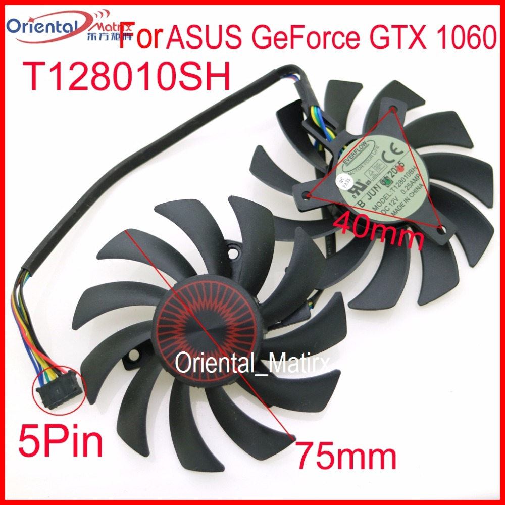 Free Shipping 2pcs/lot T128010SH DC 12V 0.25A 75mm VGA Fan For ASUS GeForce GTX 1060 GTX1060-03G-SI Graphics Card Fan 5Pin image