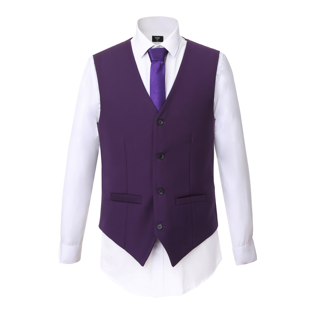 Blazer + Pantalones + chaleco) hombres traje a medida traje púrpura ...