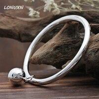Yue Silver Bracelet Female Fine Silver Bracelet Bracelet Round Smooth Simple Closed Bell Solid Custom