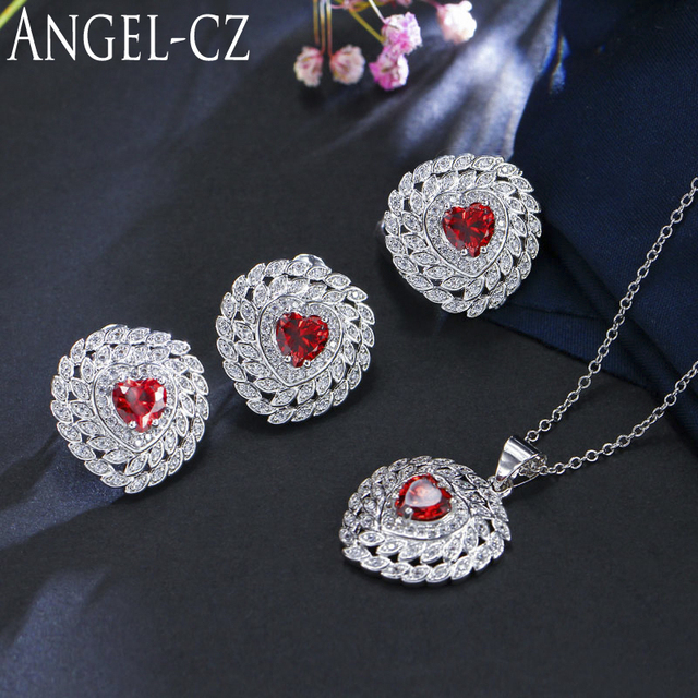 c1d308bf0 ANGELCZ 3 Piece Sterling 925 Silver CZ Turkish Jewelry For Women Cute Heart  Red Crystal Wedding Necklace Earring Ring Sets AJ100