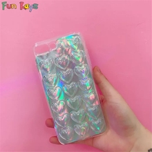 Fun Kays Bling Heart Phone Case Lovely 3D Glitter Reflective Shiny Cute Silicon Transparent Soft Phonecase Ultra Slim Back Cover(China)