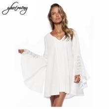цена на Yhotmeng white dresses Bohemian style beach dress V neck plus size dress women beige and white loose flare sleeve casual dress