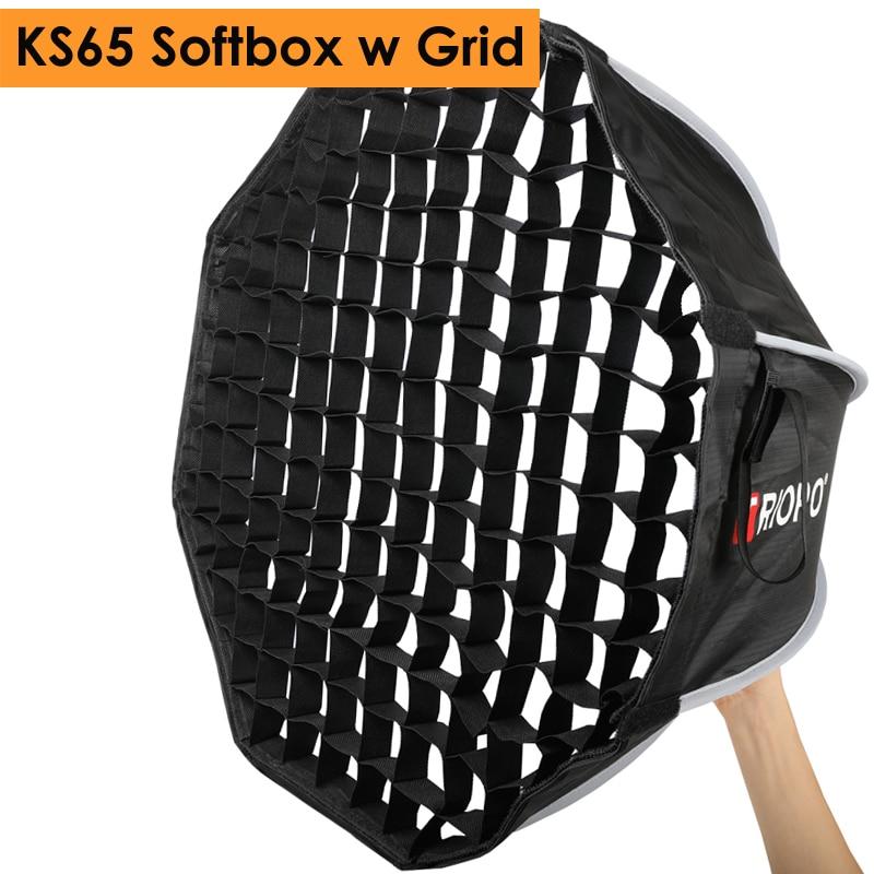Triopo 65 cm Photo Speedlite Softbox w/nid d'abeille grille Studio Portable extérieur Flash octogone Umbralla boîte souple pour Godox Yongnuo