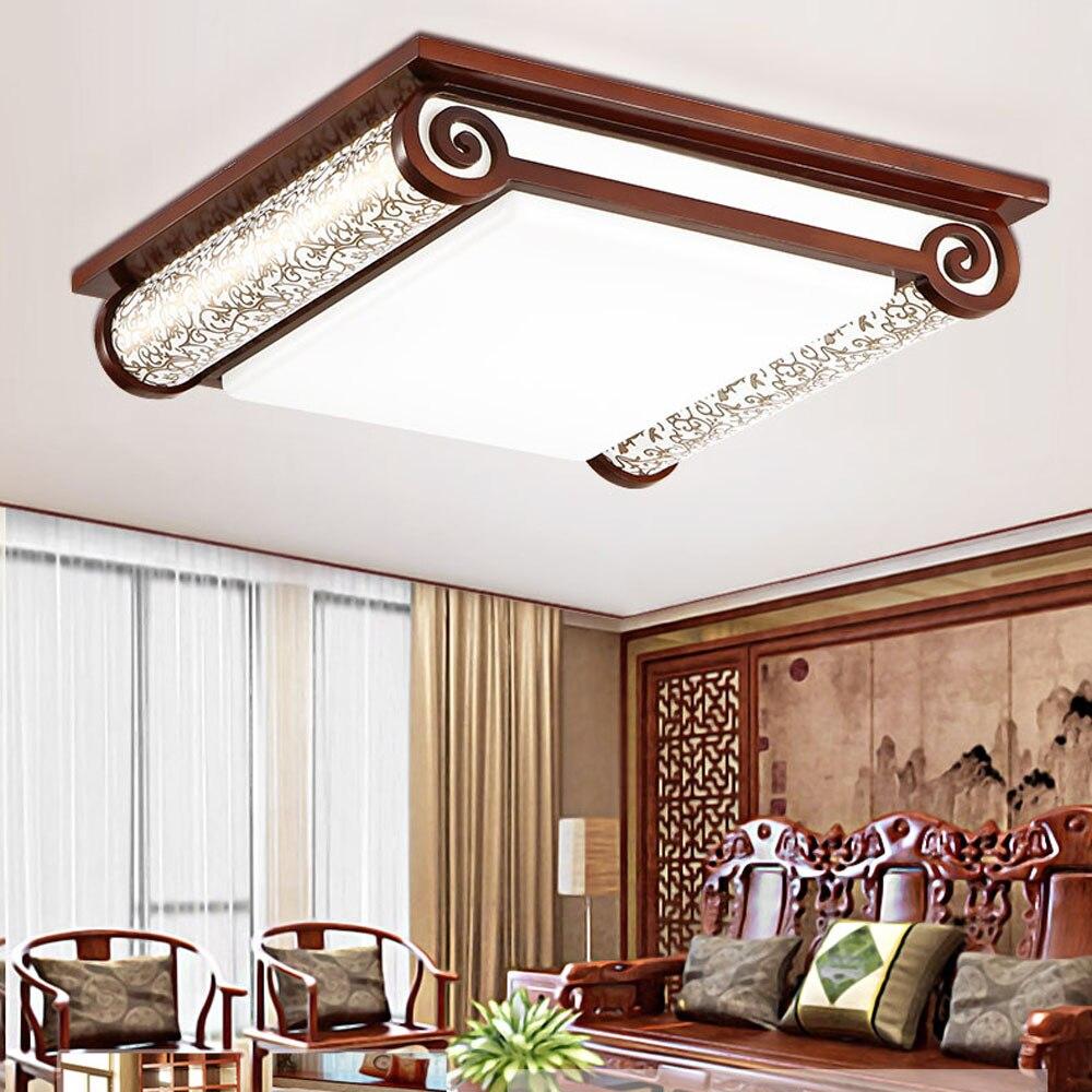 Wooden Modern Led Ceiling Lights for Living Room 110V-220V Book Chinese Living Room Ceiling Lamps Home Lighting Led Lamp