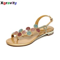 Summer Shoes New Ladies Casual Leaf Shoes Sexy Crystal Rhinestone Design Women Sandal Hot Ladies Genuine