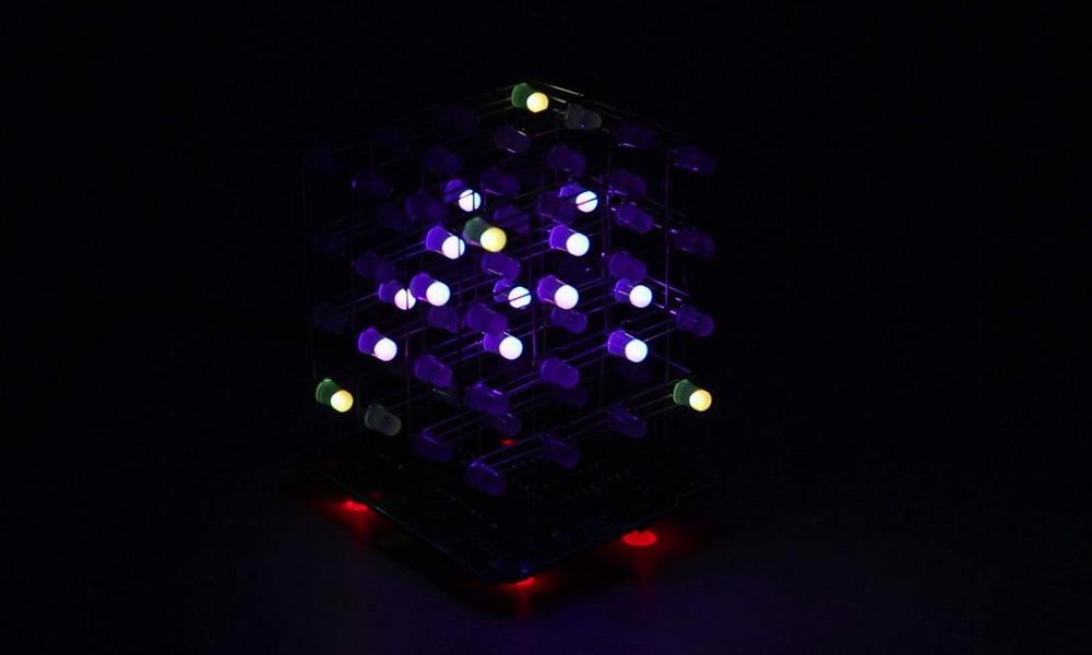 Купить с кэшбэком zirrfa Newest 3D 4X4X4  RGB cubeeds  Full Color LED Light display Electronic DIY Kit /Junior 4*4*4 support Audrio high quality