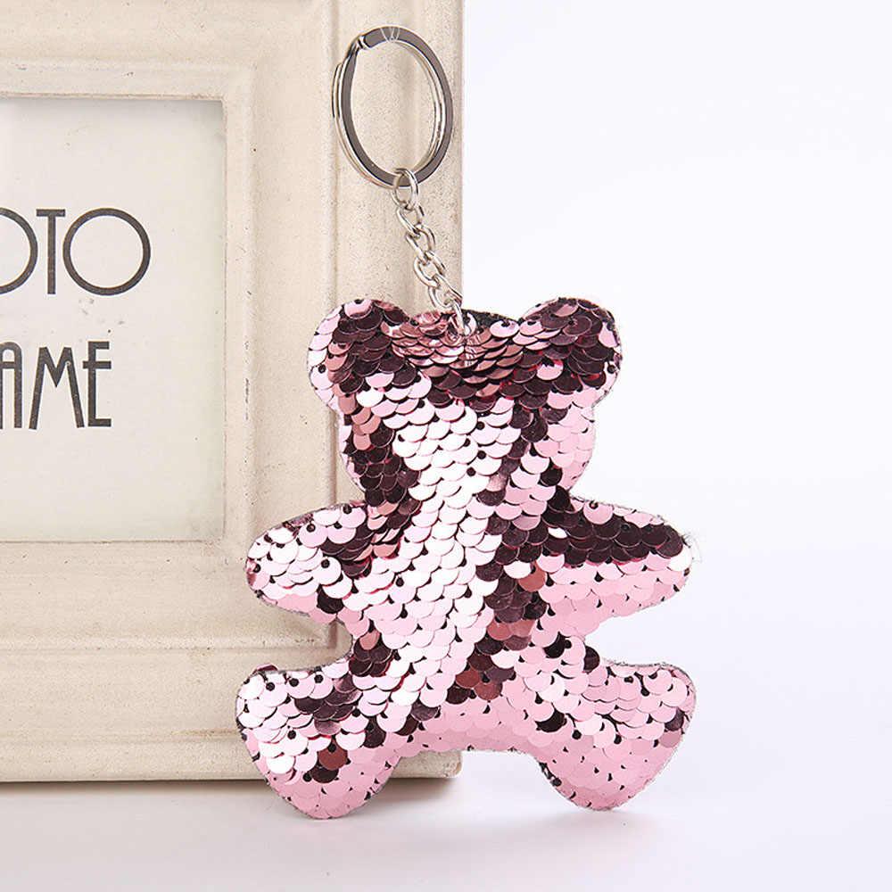 1Pcs New Arrival Cute Shiny Bear Keychain Glitter Sequins Key Ring for Women  Handbag Purse Pendants 5aaf53f86