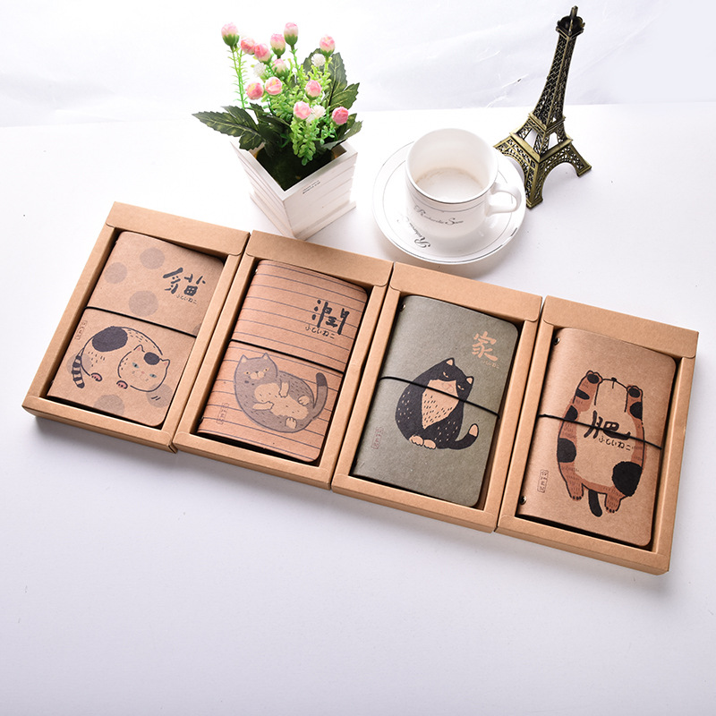 Cartoon Fat cat Kraft paper Cover Planner Notebook Diary Book Exercise Composition Binding Note Notepad Kids Gift Stationery kraft paper notebook stationery creative retro ancient chinese fine exquisite gift diary note book wholesale memo pad n057