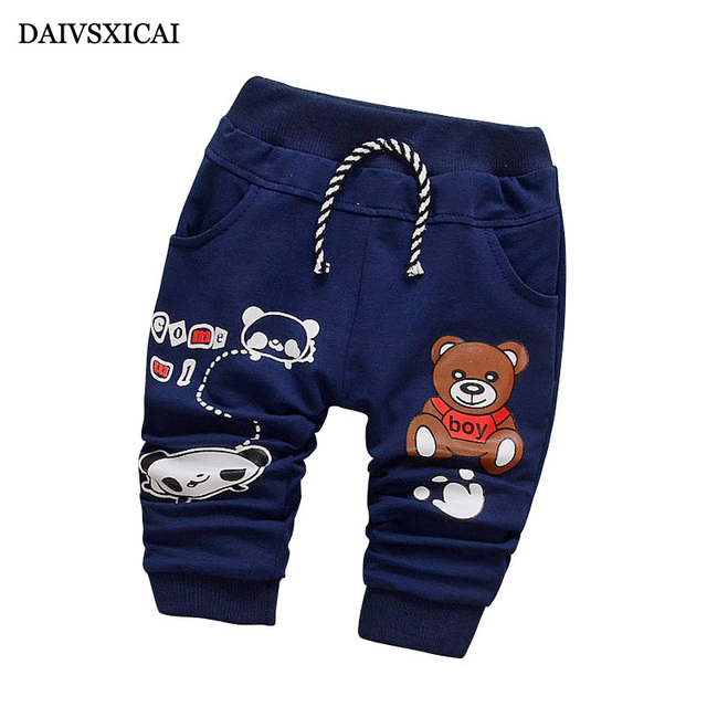 Daivsxicai  Pants Cotton Boy Fashion Cute Cartoon Bear Baby Clothing Pants Baby All-Match Children Pants For Boys 7-24 Month