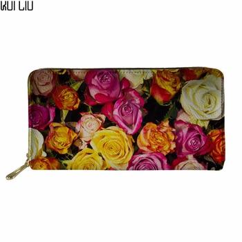 Customized Women's Purse Floral Rose Women's Wallet Ladies PU Leather Wallets Female Purse Mini Card Case Cheap Womens Wallets фото