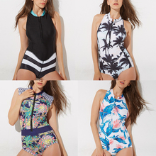 купить 2018 New Bandage One Piece Women Swimsuit Printing Floral Swimwear Beach Bathing Suit Retro Swimsuit Vintage Surfing Swim Suits дешево