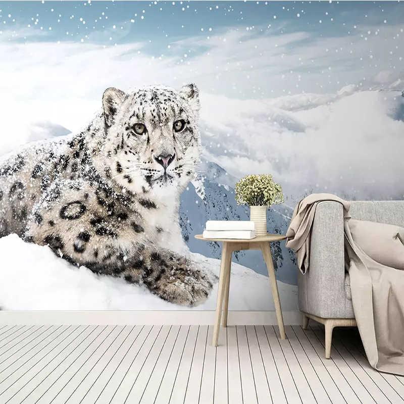 Custom Muurposters Papier Sneeuw Luipaard Dier Luipaard Landschap Muur Doek Voor Kinderkamer TV Sofa Achtergrond Decor Muurschildering