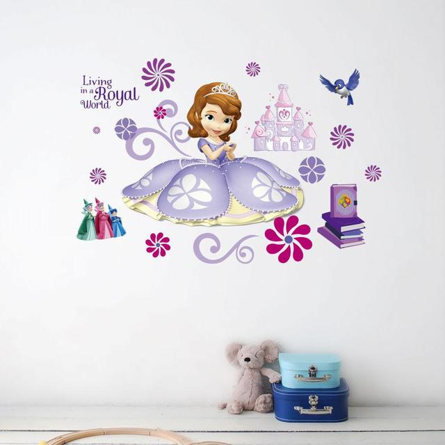 US $2.78 5% OFF|New Children\'s Bedroom 3D princess Sofia wall stickers  Removable Cartoon DIY school Stickers on the wall Children\'s pictures-in  Wall ...