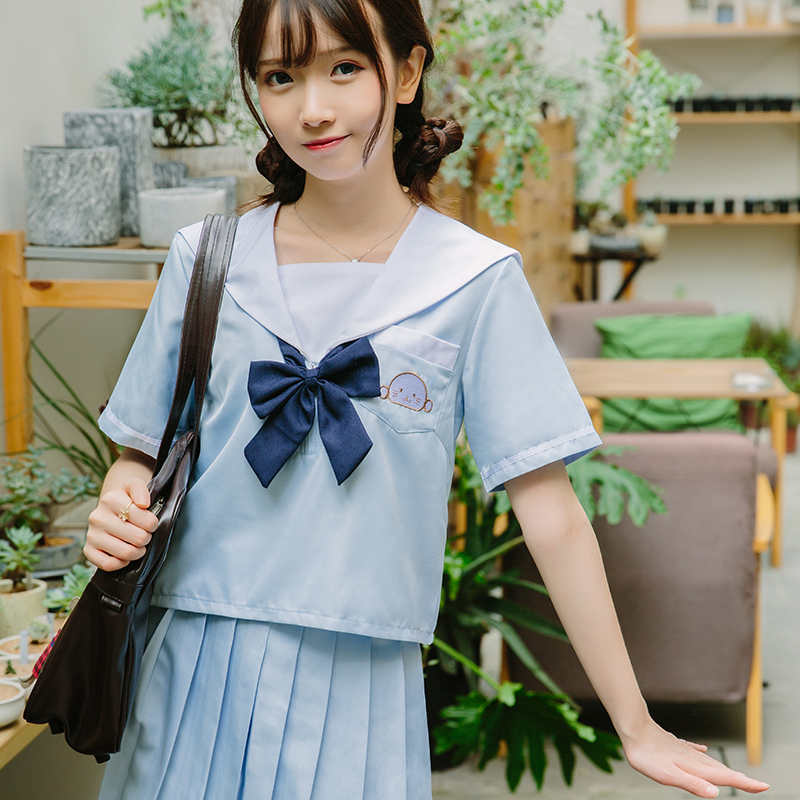 2019 New Sailor Suit School Uniform Sets Jk School Uniforms For Girls Sky Blue Shirt And Dark Blue Skirt Suits Student Cosplay