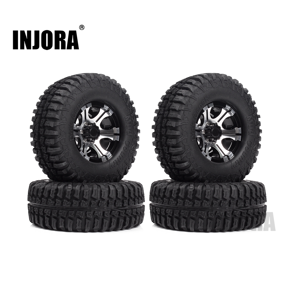 1.9 Inch Rubber Tires & Beadlock Wheel Rim Set for 1/10 RC Crawler Axial SCX10 Tamiya CC01 D90 D110 TF2 RC Car Tyre Parts 4pcs rc crawler 1 10 wheel rims beadlock alloy 1 9 metal rims rock crawler wheel hub parts for rc car traxxas rc4wd scx10 cc01