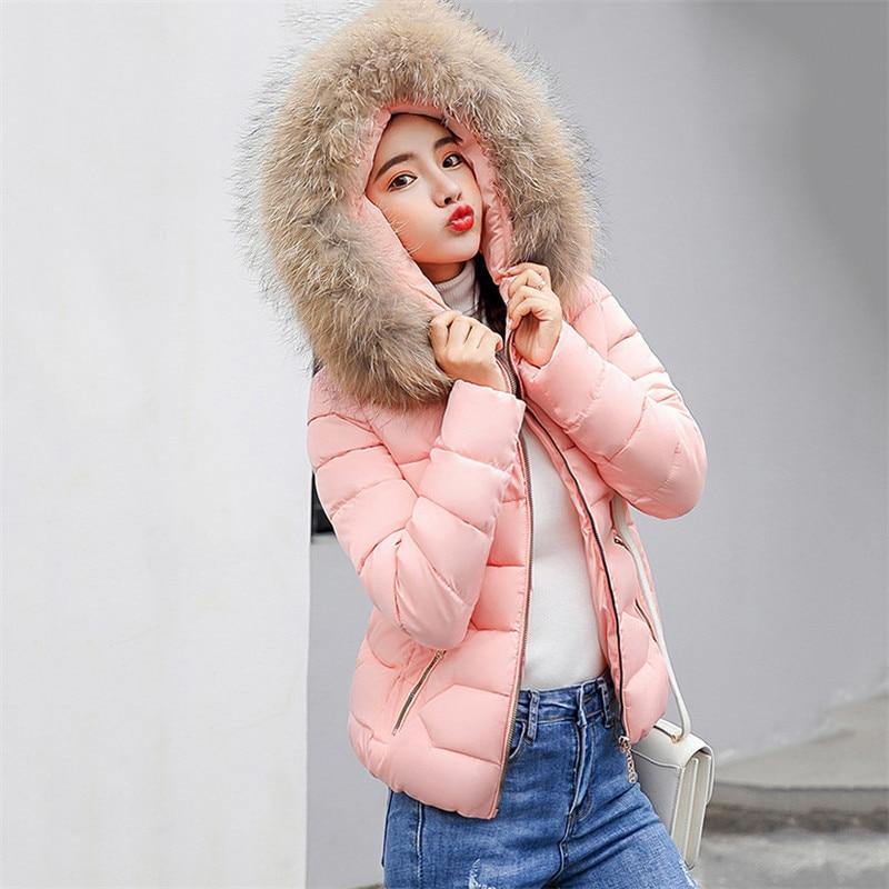 Winter Coat Women White Pink Gray M-3XL Plus Size Feathers Hooded   Parkas   2019 New Autumn Korean Office Black Short Jackets LR197