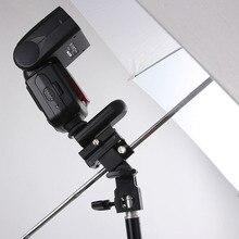 Kamera Blitzlicht Heiße Schuh Adapter mit Regenschirm Loch Stativ Light Stand Bracket Halter Halterung SB600 580EX YN560 Speedlite (B)