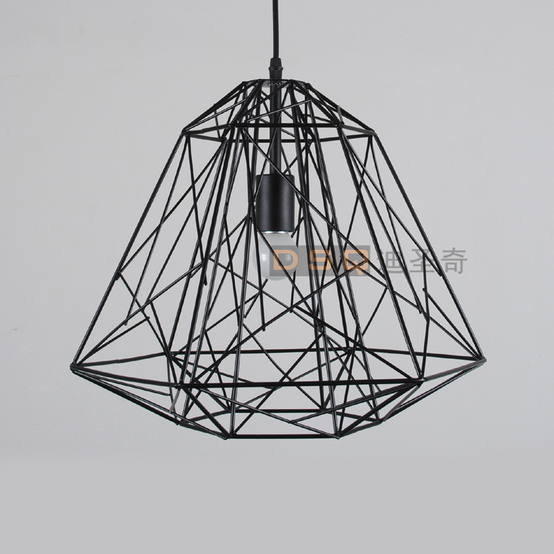 classic american vintage black and white iron wire cage bird nest pendant light living room