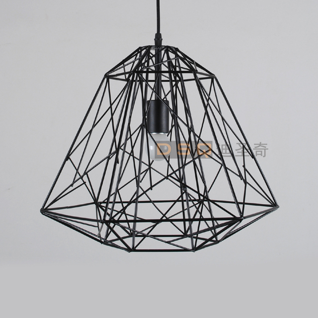 Classic American Vintage Black And White Iron Wire Cage Bird Nest Pendant  Light Living Room Light