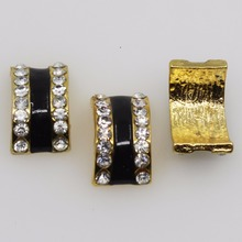 10pcs/lot 20mm*11mm gold arched black striped rhinestone metal alloy slider button home wedding decoration craft supplies