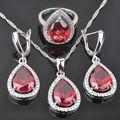 Gota de água de Pedra Zircônia Cúbica Vermelho das Mulheres 925 Conjuntos de Jóias de Prata Brincos/Pingente/Colar/Anéis Livre grátis QZ034