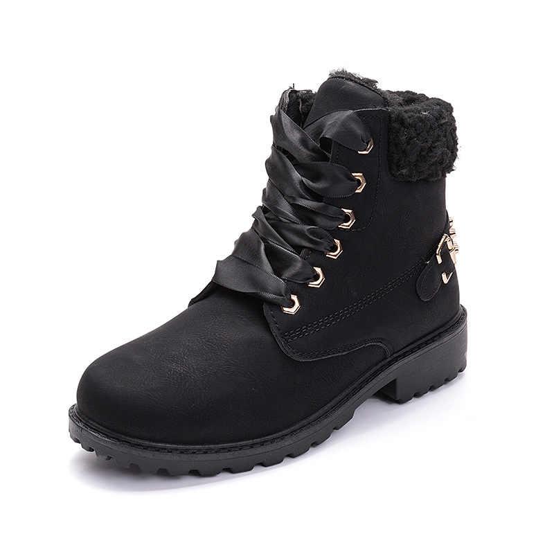 2019 neue Frauen Stiefel Winter Schuhe Frauen Stiefeletten Warme Pelz Für Martin Stiefel Frauen Schuhe Lace-Up Weibliche winter Stiefel Bota Frauen