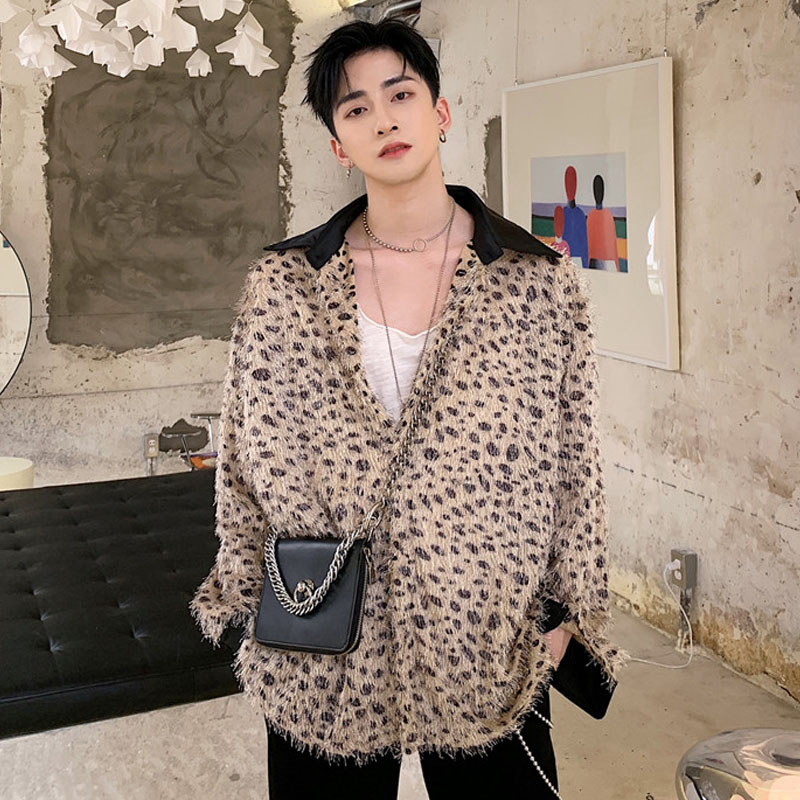 Men Fashion Polka Dot Leopard Tassels Long Sleeve Oversize Casual Shirt Cardigan Male Women Streetwear Hip Hop Loose Shirts Coat